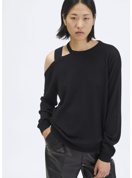 Shoulderless knit jumper