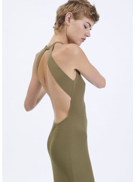Long backless knit dress