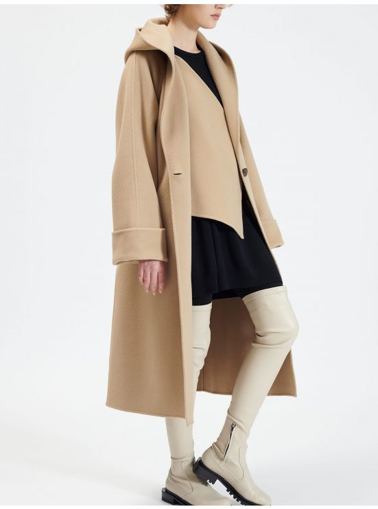 Loose double-face wool coat