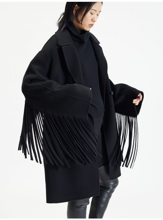 Mid-length fringed double-face wool coat