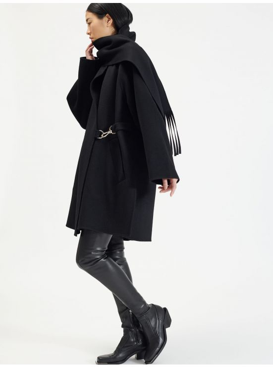 Double-face wool coat with built-in scarf