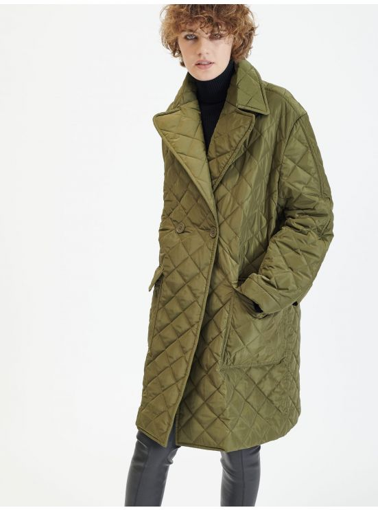 Quilted nylon double-breasted coat