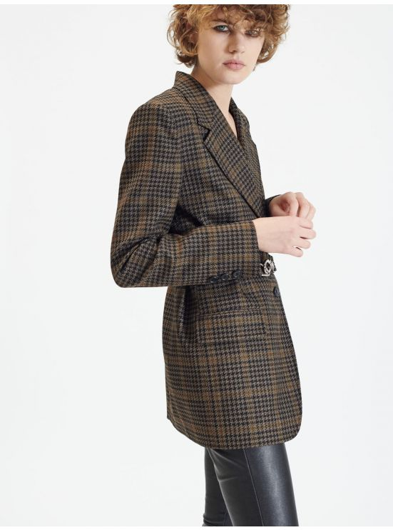 Long plaid wool belted jacket