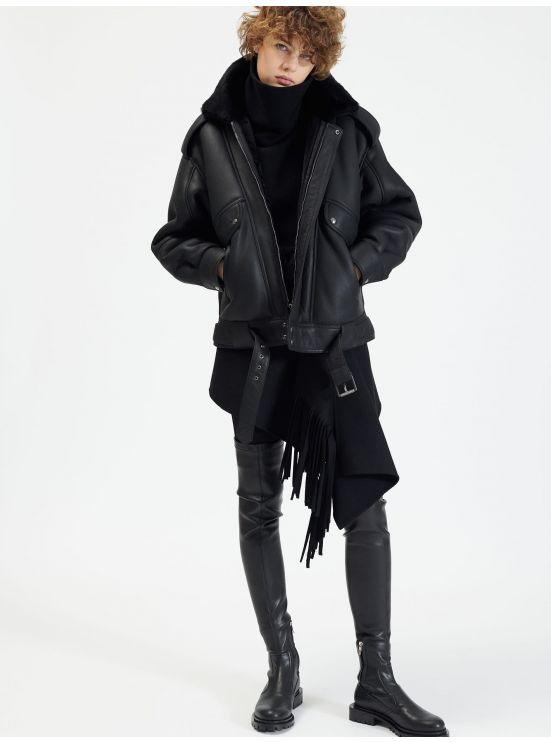 Vintage-style shearling bomber