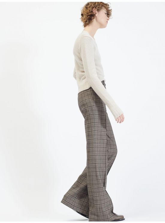 Prince of Wales wool flare trousers