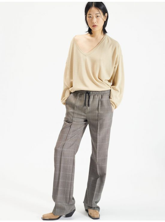 Wool and silk V-neck sweater