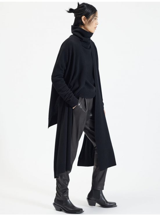 Asymmetrical wool and cashmere cardigan