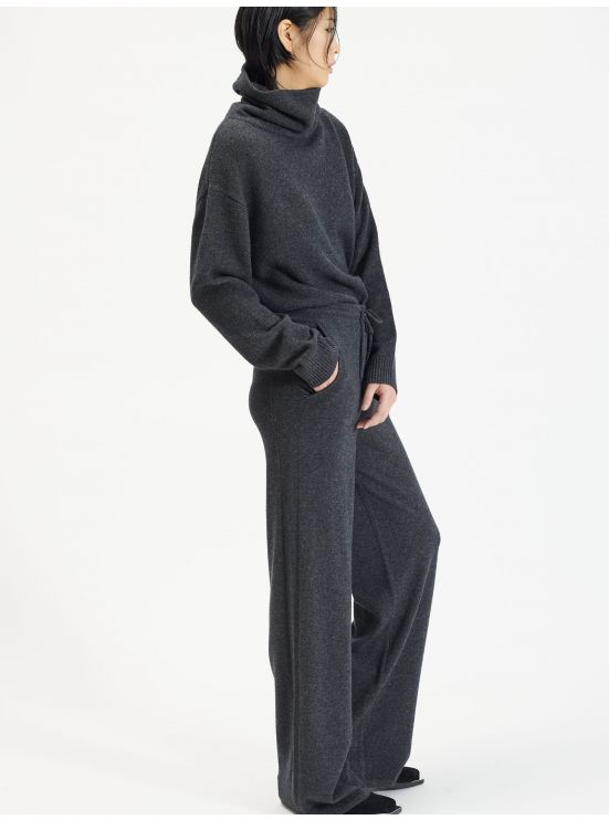 Wide-leg wool and cashmere trousers