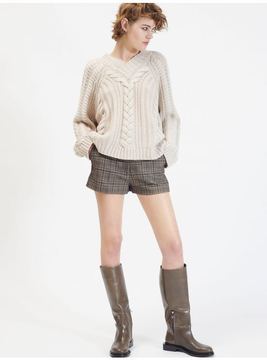 Wool and cashmere cable knit V-neck sweater
