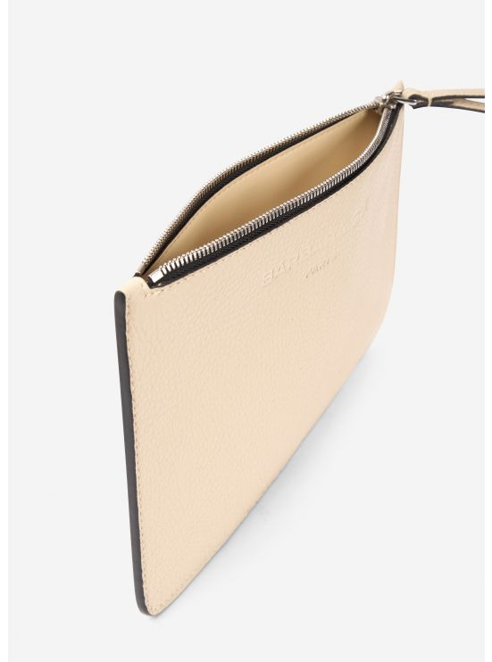 Beige leather pouch