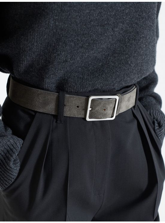 Military belt in charcoal grey suede