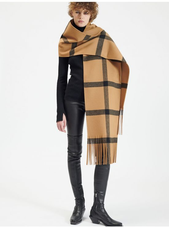 Woolen check fringed scarf