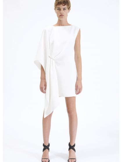 Short draped crepe dress