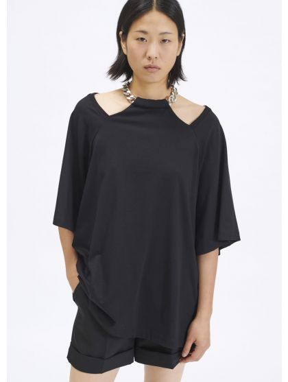 Cotton jersey t-shirt with chain necklace