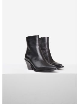 Glossed leather ankle boots