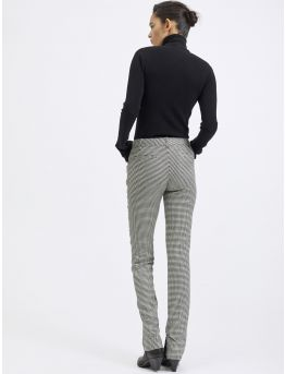 Wool houndstooth slim trousers