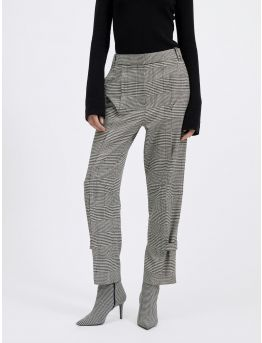 Houndstooth-printed wool
