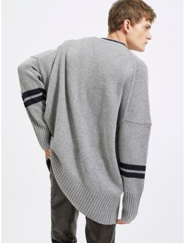 Oversized wool and cashmere sweater with stripes