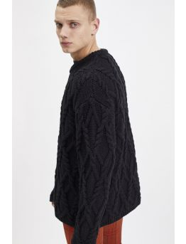 Twisted knit wool sweater