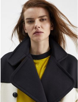 Graphic wool and cashmere military coat