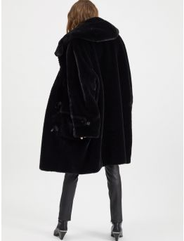 Hooded faux fur duffle coat