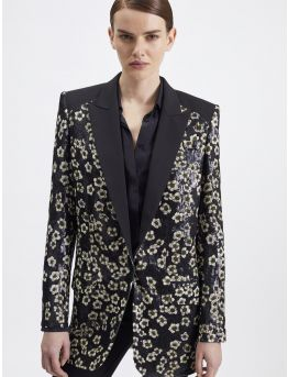 Sequin-embroidered jacket in printed-georgette