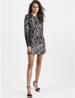 Sequin-embroidered georgette mini dress