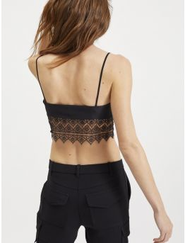 Silk and black lace camisole