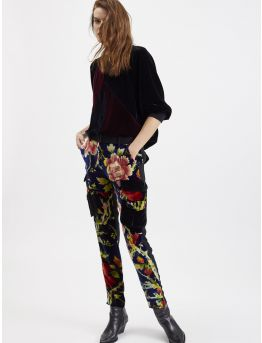 Crepe and printed-velvet cargo trousers