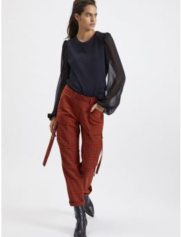 Wool plaid military trousers