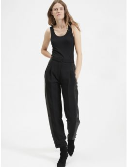 Crepe and leather pleated trousers