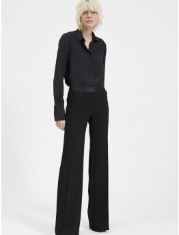Crepe flared trousers