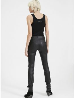 Stretch leather slim trousers