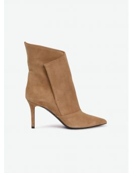 Paneled suede booties