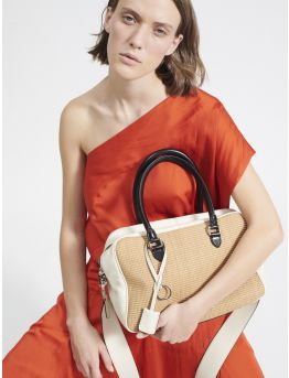 Vogue raffia and leather bag