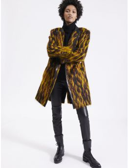Camouflage mohair overcoat