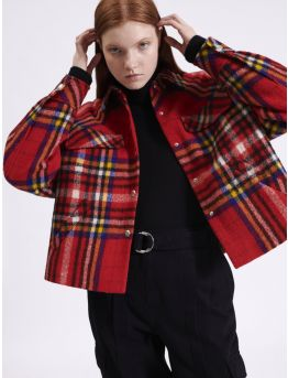 Cropped overshirt-style tartan jacket