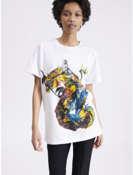 Cotton jersey t-shirt with dragon print
