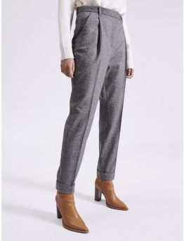 Pantalon à pinces 7/8 en tweed