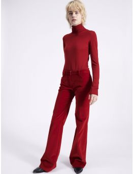 Smooth velvet flare trousers
