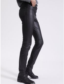 Pantalon slim en cuir plongé stretch