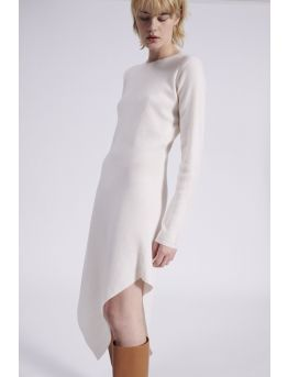 Asymmetrical wool and cashmere dress