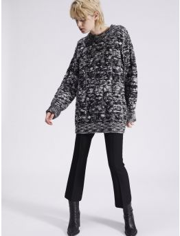 Oversized two-toned cable knit jumper