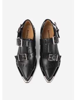 Buckled leather derbies