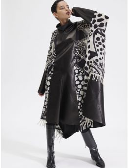 Leather and animal print patchwork dress