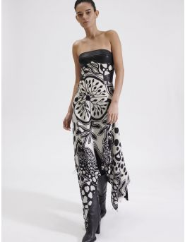 Strapless leather and leopard print dress