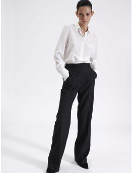 High waist striped lurex trousers