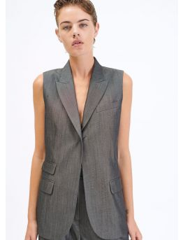 Sleeveless Prince of Wales tailored jacket