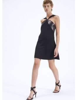 A-line dress with crepe and leather panels