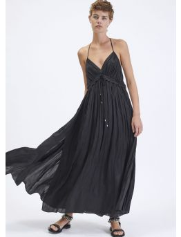 Long gathered satin dress with thin straps